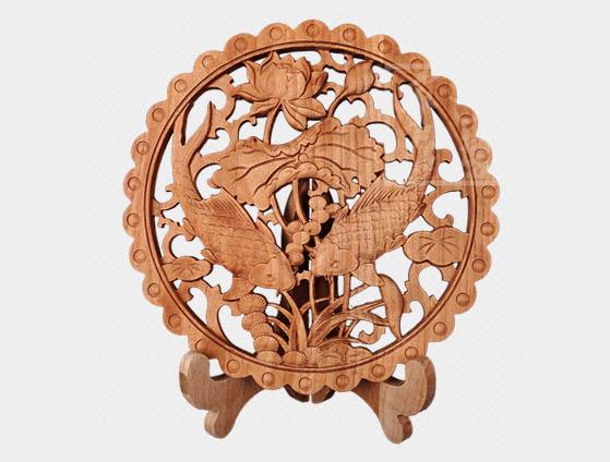 木雕圆形摆件